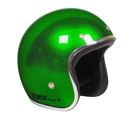 Casque jet TORX WYATT glitter vert