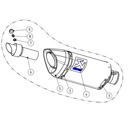 Silencieux carbone M-AP00502C de rechange pour ligne AKRAPOVIC S-Y7R2-AFC