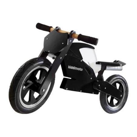 Draisienne en bois Kiddimoto Superbike noire et blanche pour enfants