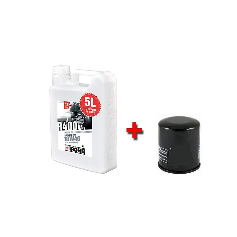 Pack vidange Ipone - Huile 4T 10W40 R4000RS (4l+1l) - Semi-synthèse plus + filtre à huile offert