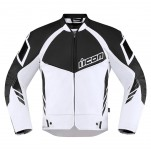 Blouson moto cuir Homme ICON Hypersport 2 Blanc