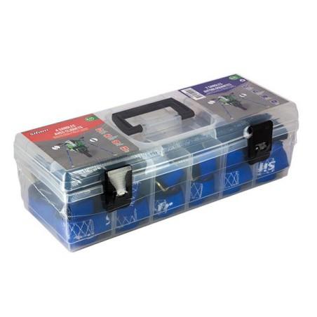 Sifam - Coffret + 6 Sangles d'Arrimage BLUE FORCE avec Crochet Sécurisé - 25 x 450mm à Cliquet (4x) / 25mm x 360mm (x2)