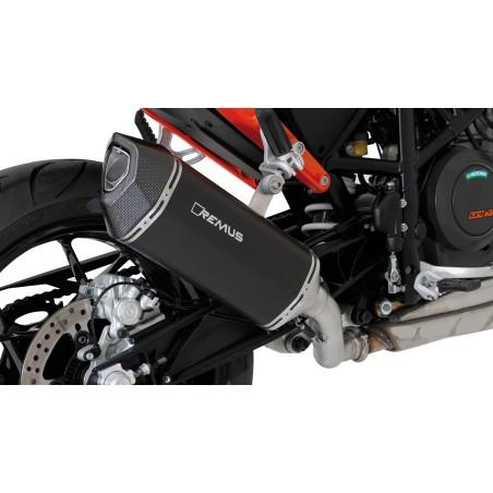 Silencieux Slip on REMUS BLACK HAWK Inox noir pour KTM 690 Duke 4 et 4R 12 et + / Duke 5 et 5R 16 et +