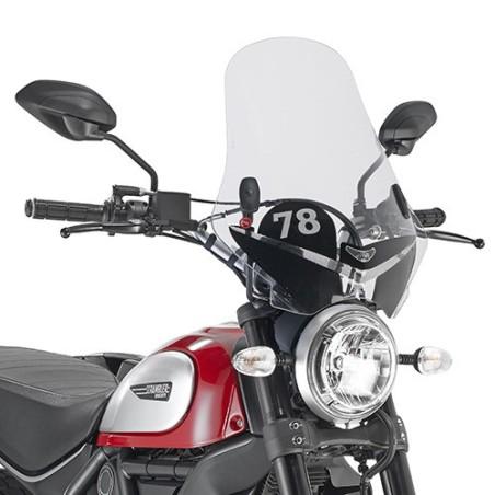 Bulle pare-brise GIVI incolore avec sérigraphie 78 pour Ducati Scrambler 800 2015-2016 et Scrambler 400 2016