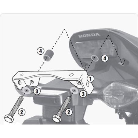 Kit spécifique 1102KIT GIVI pour monter les supports PLX1137 / TE1137 sans le support top case 1137FZ Honda CB650F et CBR650F 14