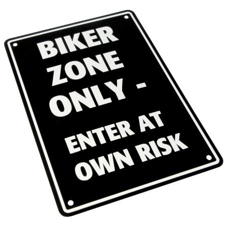 Plaque alu décorative Biker Zone Only pour garage