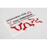 Kit dautocollants SW-MOTECH Compilation logos. Rouge/Noir. Resistant intemper.
