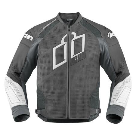 Blouson moto cuir Homme ICON Hypersport Prime Gris