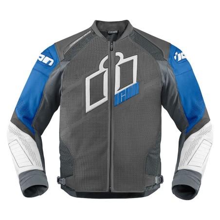Blouson moto cuir Homme ICON Hypersport Prime Bleu