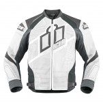 Blouson moto cuir Homme ICON Hypersport Prime Blanc