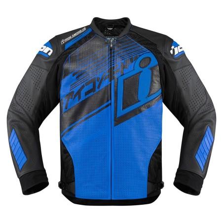 Blouson moto cuir Homme ICON Hypersport Prime Hero Bleu