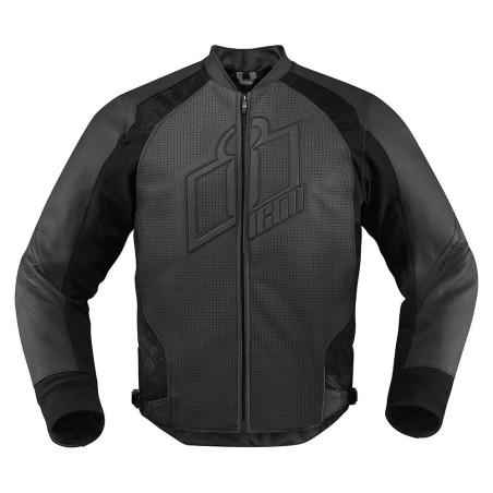 Blouson moto cuir Homme ICON Hypersport Noir