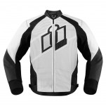 Blouson moto cuir Homme ICON Hypersport Blanc