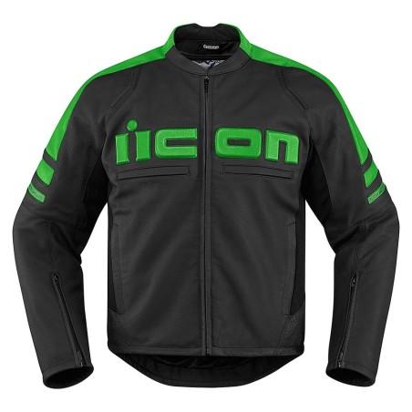 Blouson moto cuir Homme ICON Motorhead 2 Vert