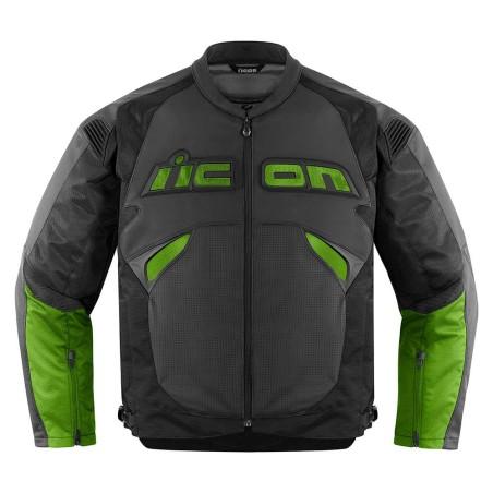 Blouson moto cuir Homme ICON Sanctuary Vert
