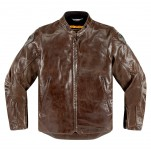 Blouson moto cuir Homme ICON Retrograde Marron