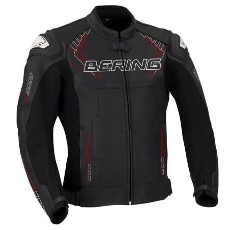 Blouson moto cuir BERING Hunt-R Noir Blanc Rouge