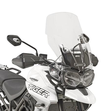 Bulle GIVI incolore Haute Protection 58,5cm (+14,5cm) pour moto Triumph Tiger 800 XC / XR 2018 et +