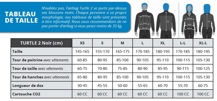 Guide des tailles gilets airbag HELITE chez Tech2Roo